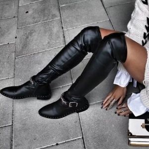 Zara Trafaluc Black Flat Over The Knee Boots 🛍